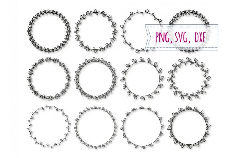12 Round elegant frames svg. Spring frame example image 1