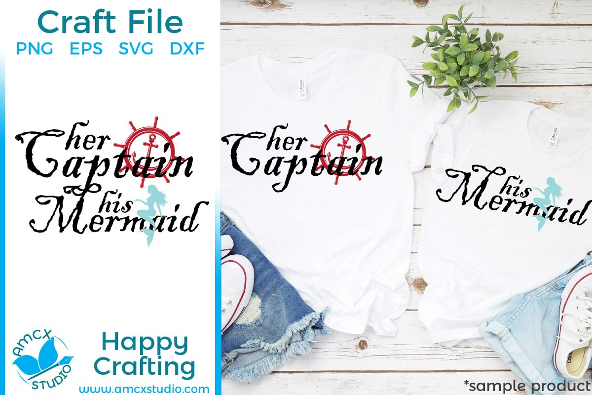 Her Captain His Mermaid- Couples Shirts SVG Craft file example image 1