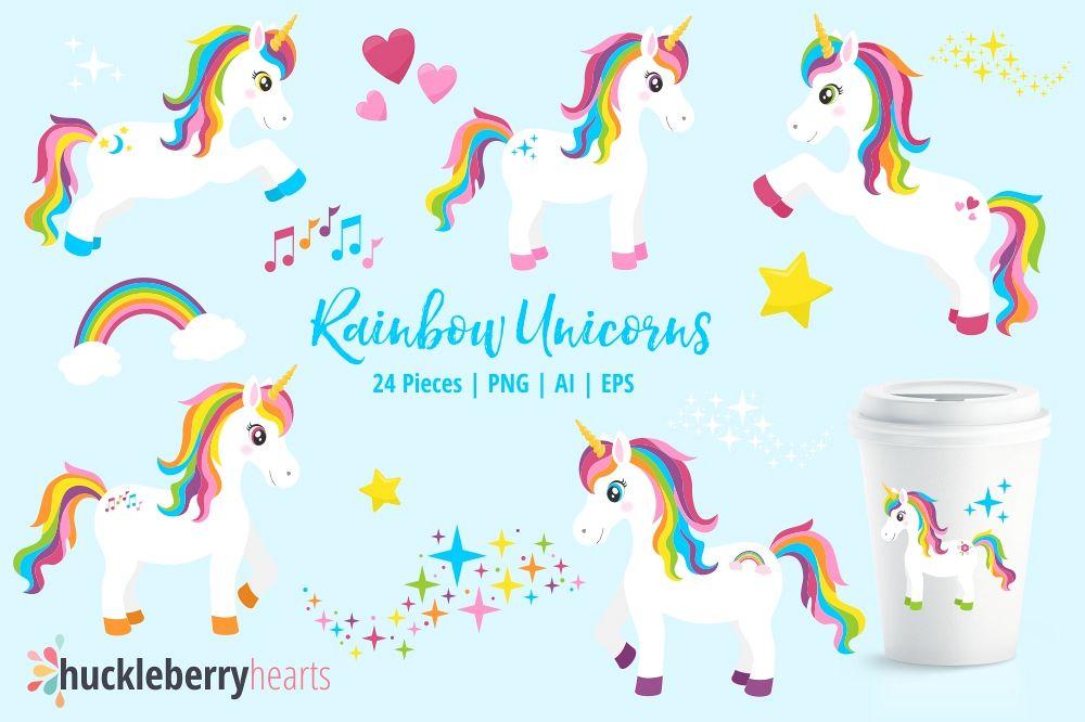 rainbow unicorn clipart by huckleberry design bundles rh designbundles net unicorn clipart border unicorn clipart free vector art