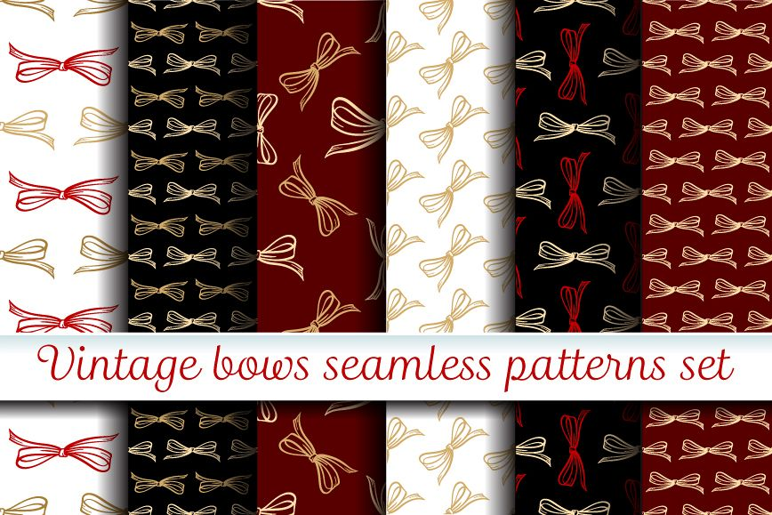Vector bows seamless patterns set example image 1