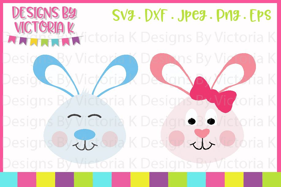 Easter Bunny Faces, Boy Bunny, Girl Bunny, SVG, DXF, PNG example image 1