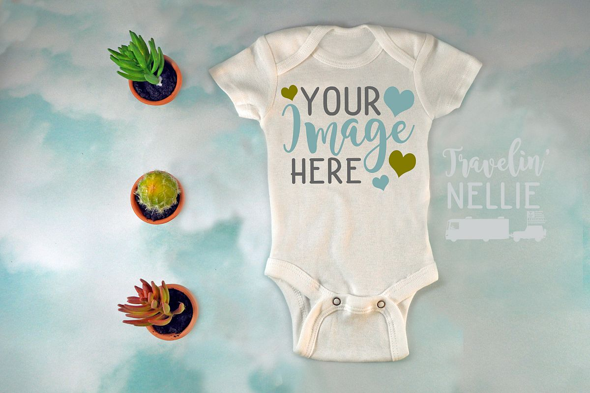 White Bodysuit Mockup One Piece Styled Baby Cacuts Clouds example image 1