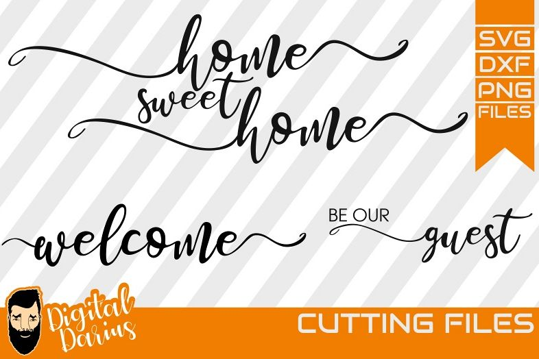 3x Home sweet home Svg, Welcome svg, Feather svg, Digital example image 1