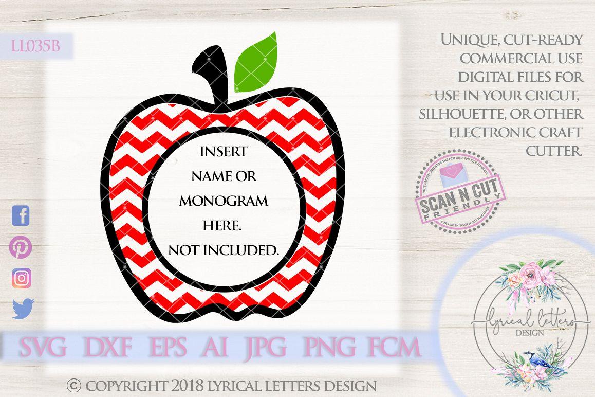 Chevron Apple Monogram Frame SVG Cut File LL035B example image 1