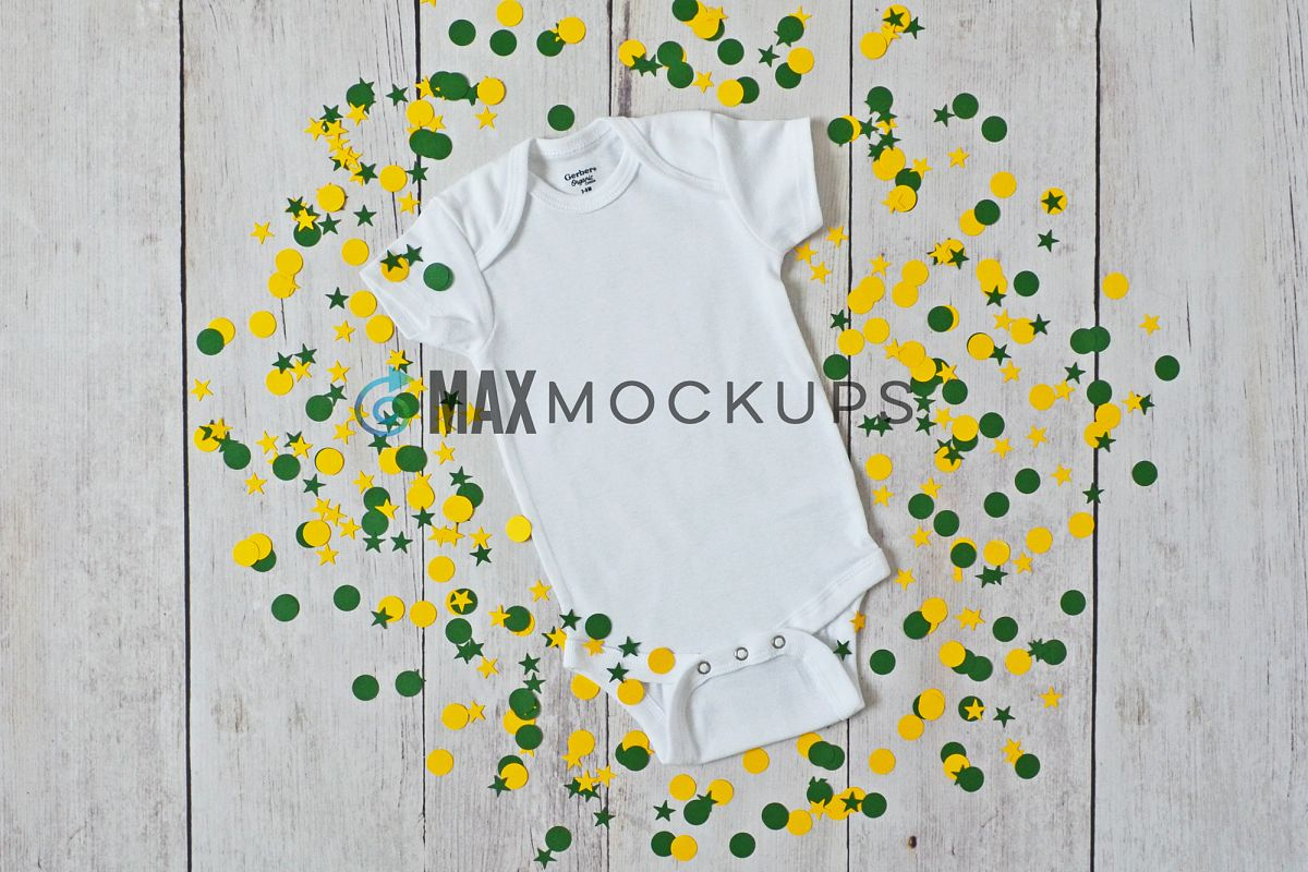 Baby bodysuit Mockup, green gold confetti flatlay display example image 1