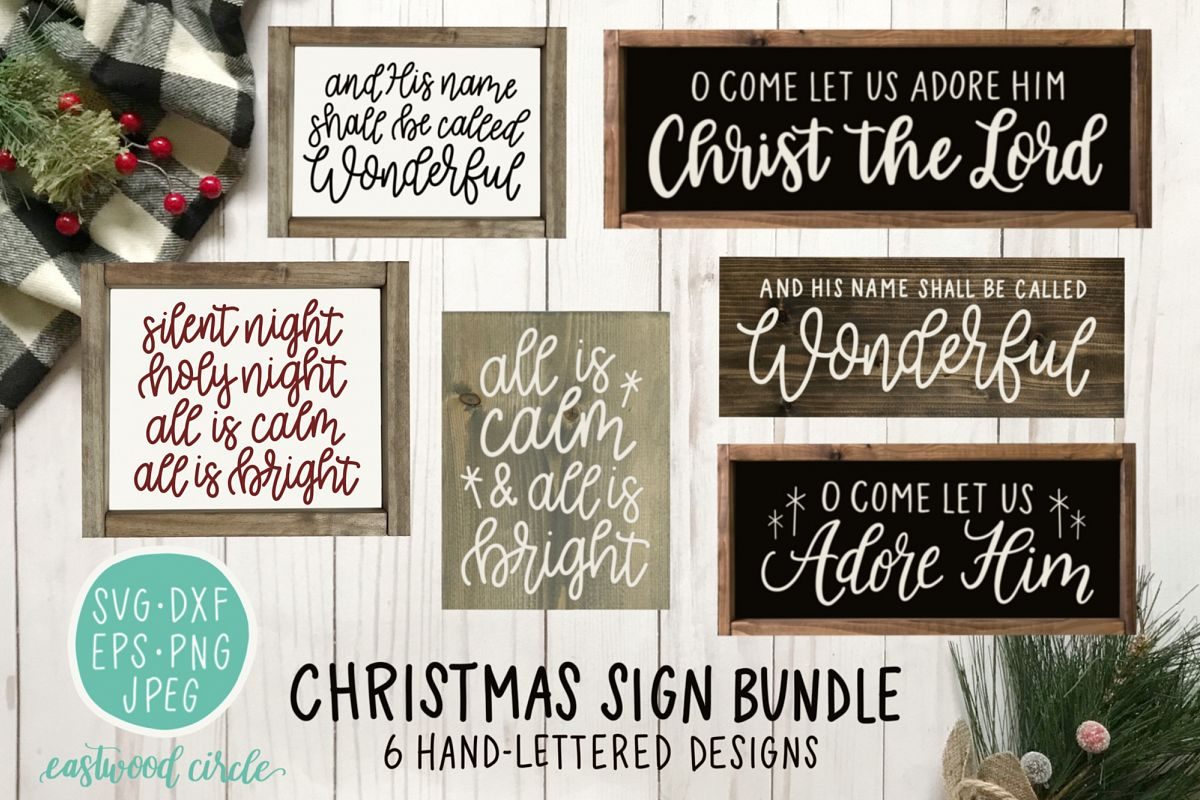 Christmas SVG Bundle - Hand Lettered Cut Files for Signs example image 1