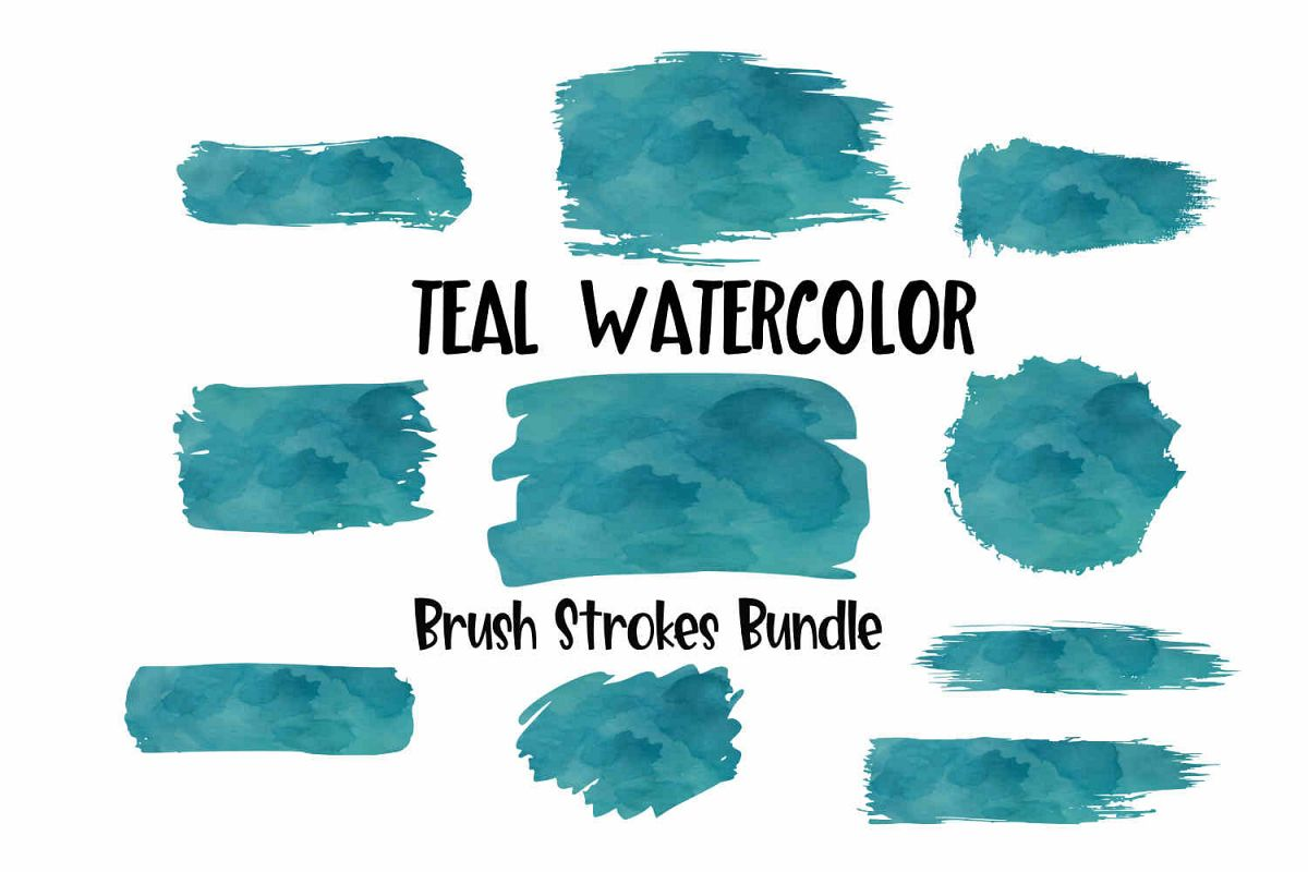 Teal Watercolor Brush Strokes Background Bundle PNG example image 1