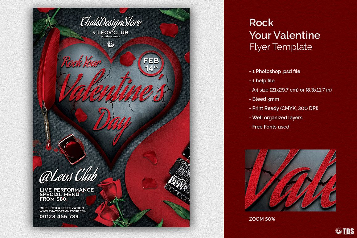 Rock Your Valentine Flyer Template example image 1