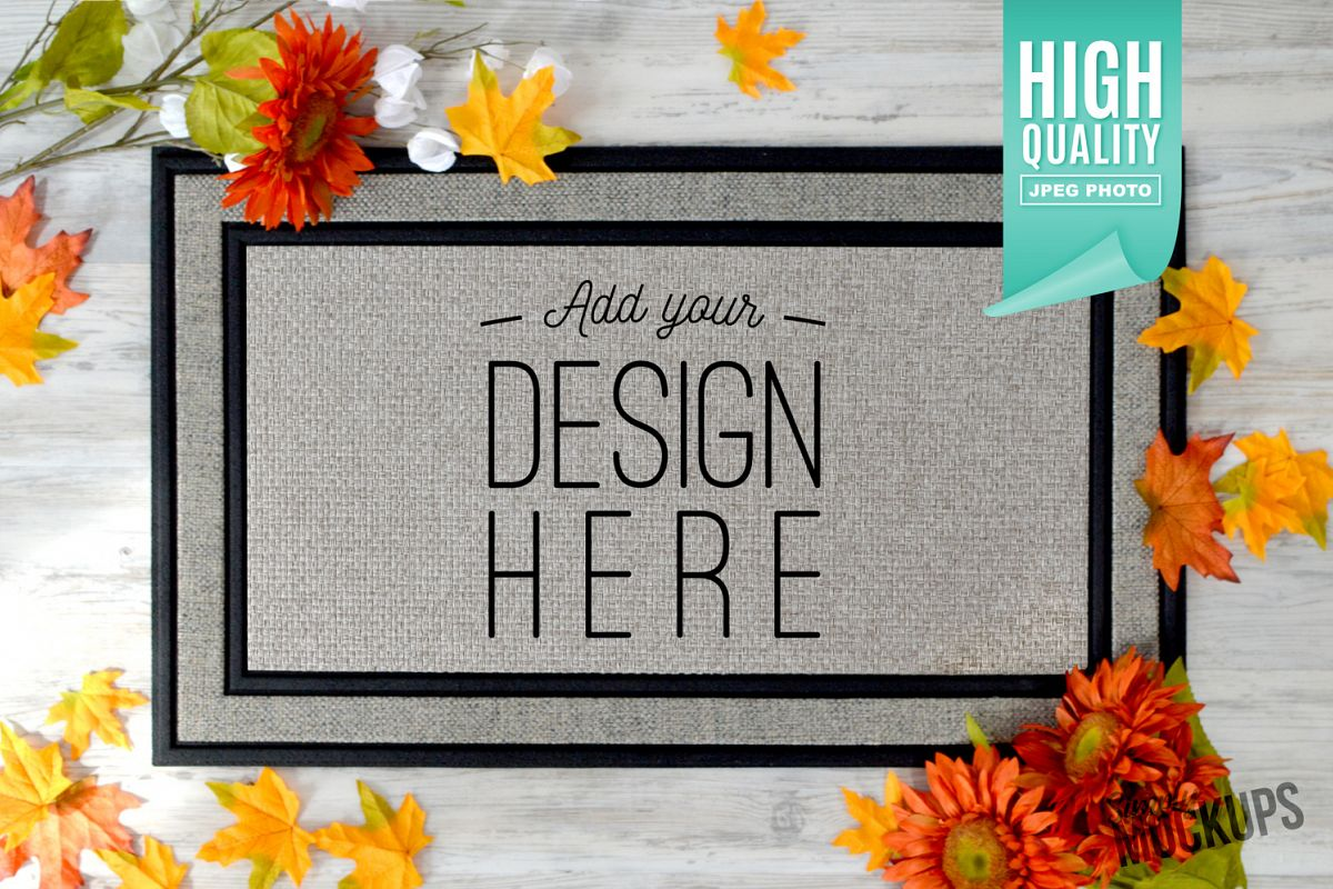 Sublimation Doormat Mockup With Flowers & Shoes example image 1