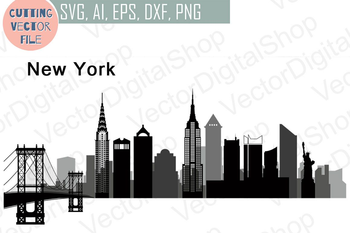 New York Vector Skyline Usa City Svg Jpg Png Dwg Cdr