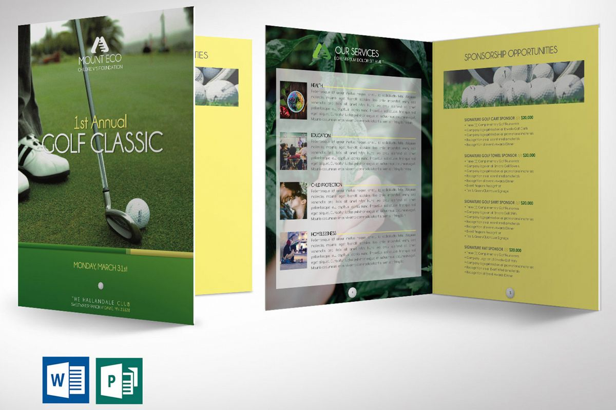 Charity Golf Booklet Word Publisher Template example image 1