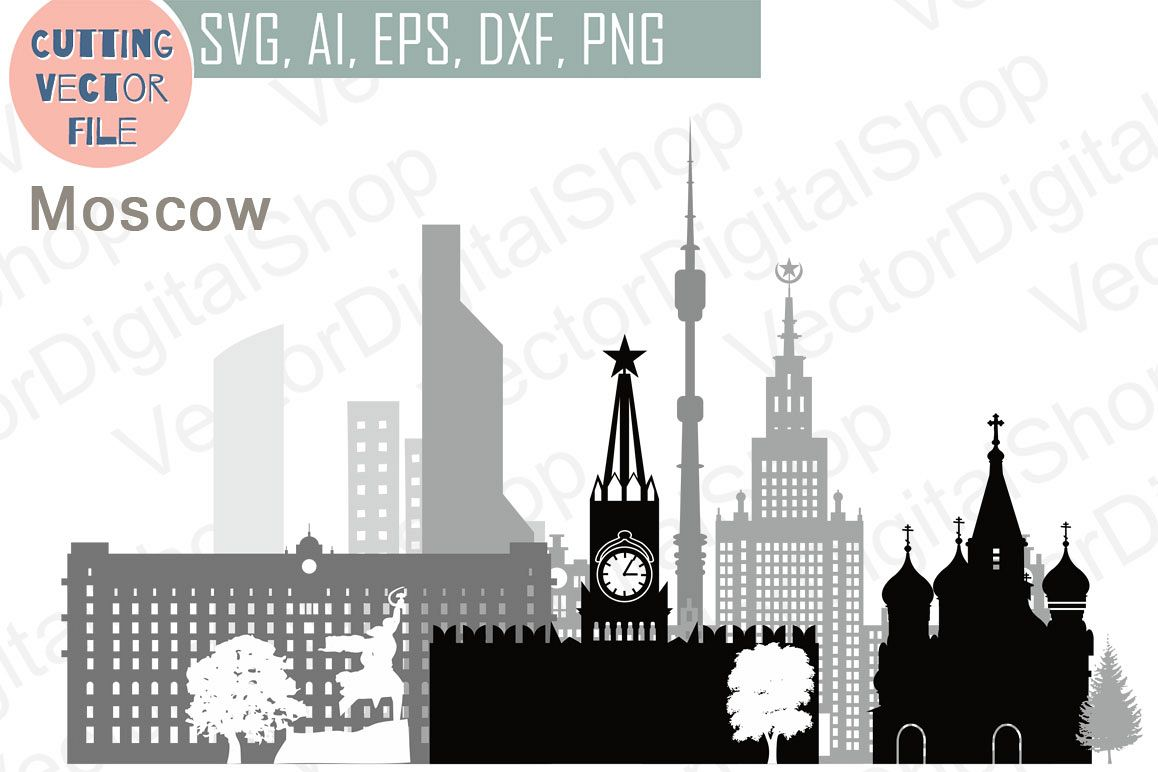 Moscow Vector, Russia city Skyline  SVG, JPG, PNG, DWG, CDR, EPS, AI example image 1