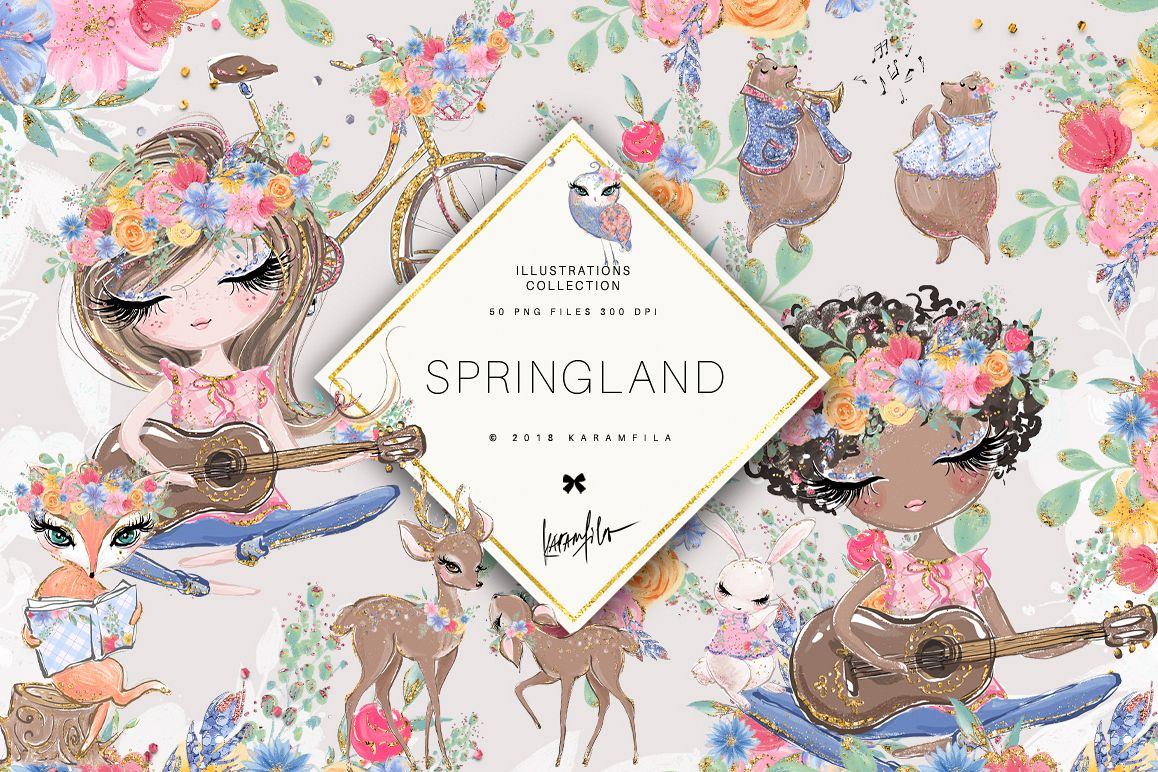 Spring Woodland Clipart example image 1