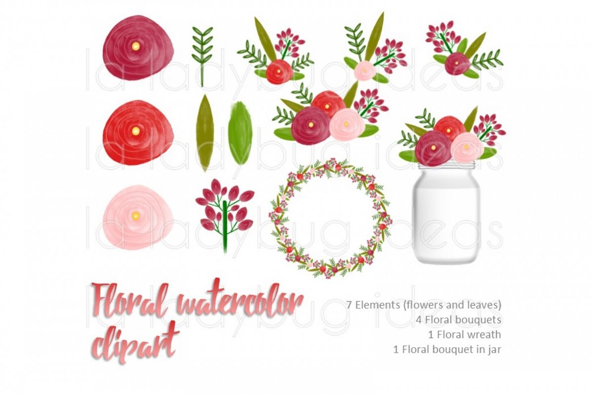 Red floral watercolor clip art collection.  example image 1