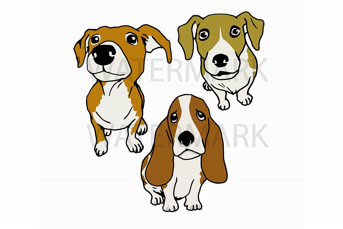 Bundle Three Dogs - Separated SVG/JPG/PNG - Hand Drawing example image 1