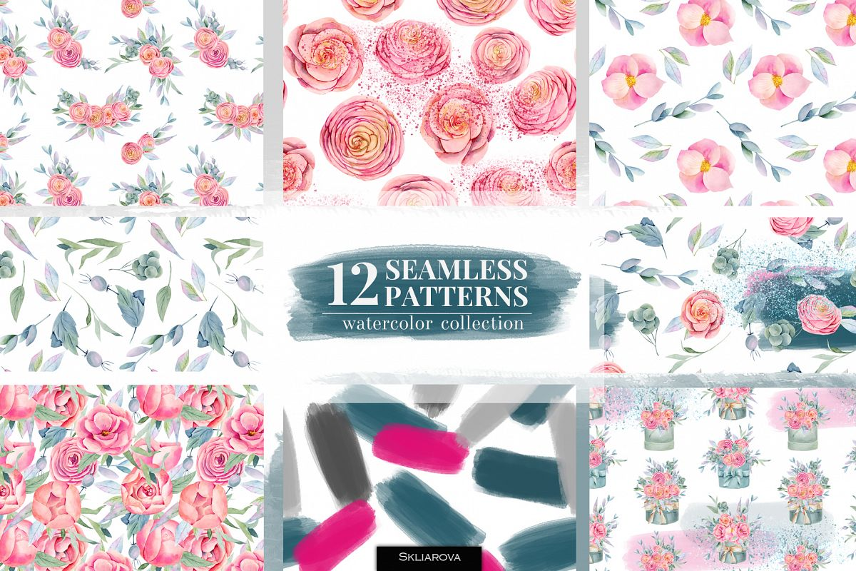 12 seamless patterns, Floral boxes watercolor col. example image 1