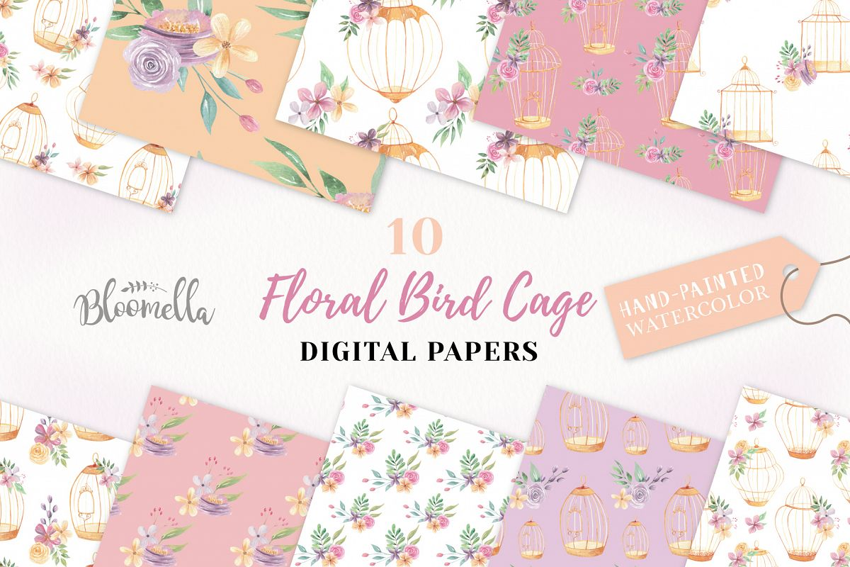 Birdcage Flower Patterns Digital Papers Peach Wedding Floral example image 1