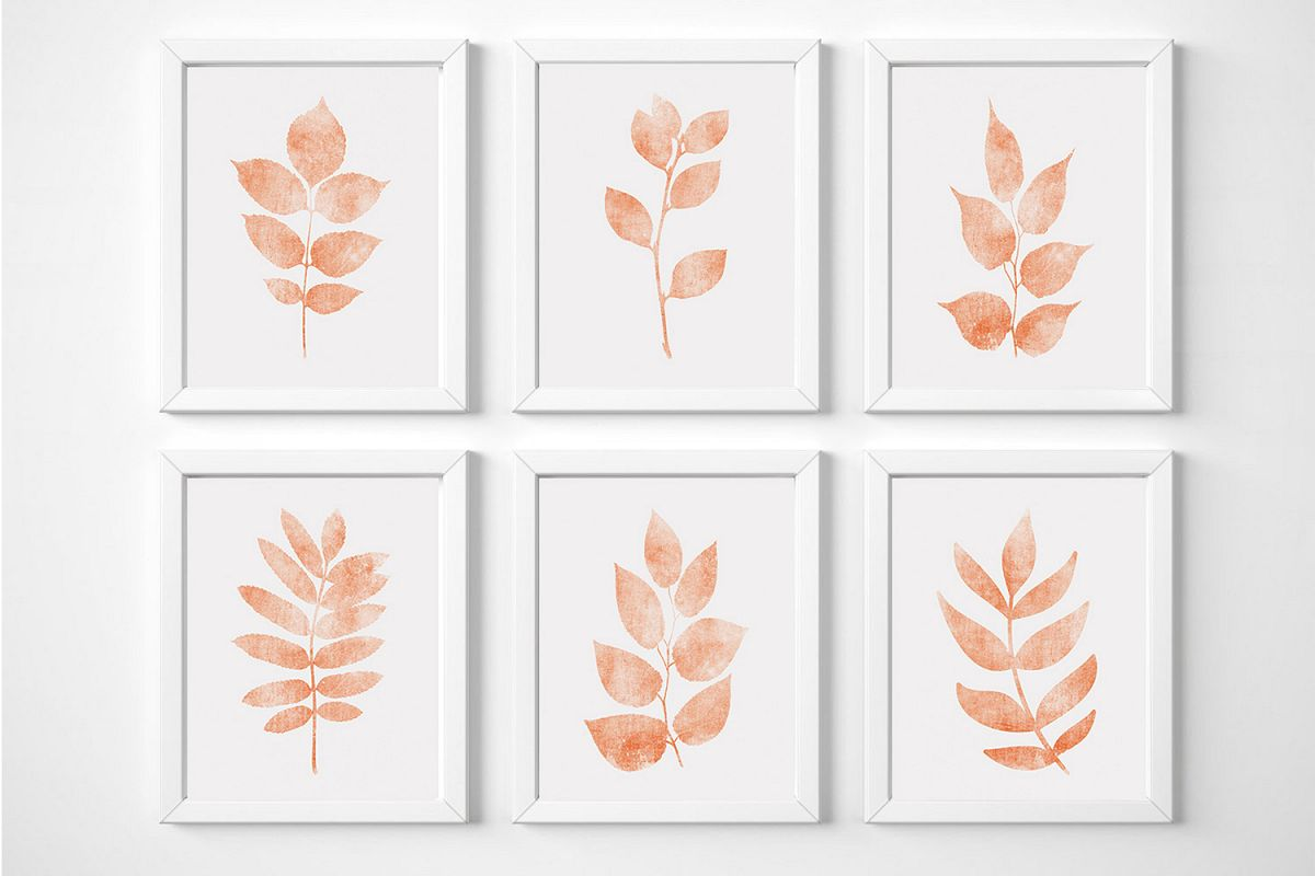 Botanical Wall Art for Nursery, Coral Color Wall Art example image 1