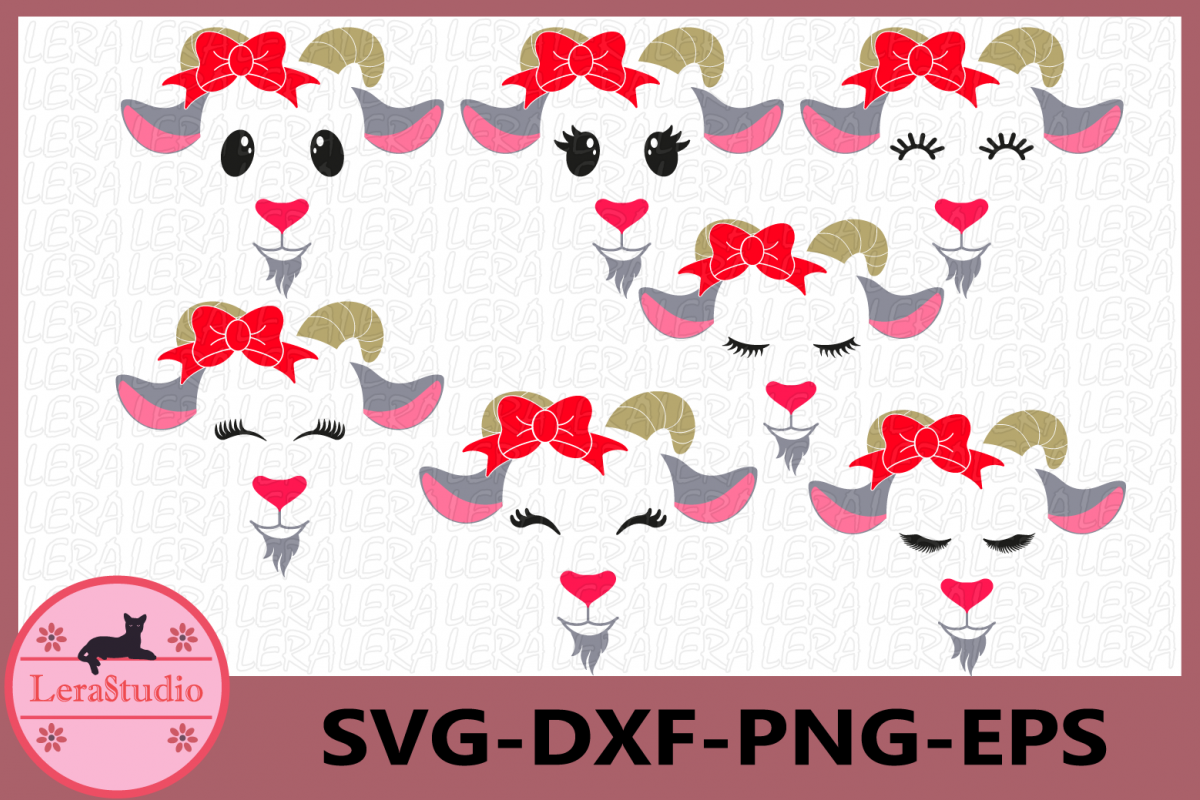 Farm Svg, Goat Face Svg,Goat Eyelashes Face Svg, Bow example image 1