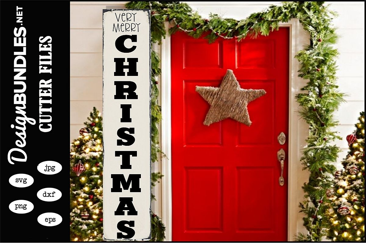 Very Merry Christmas Vertical SVG example image 1