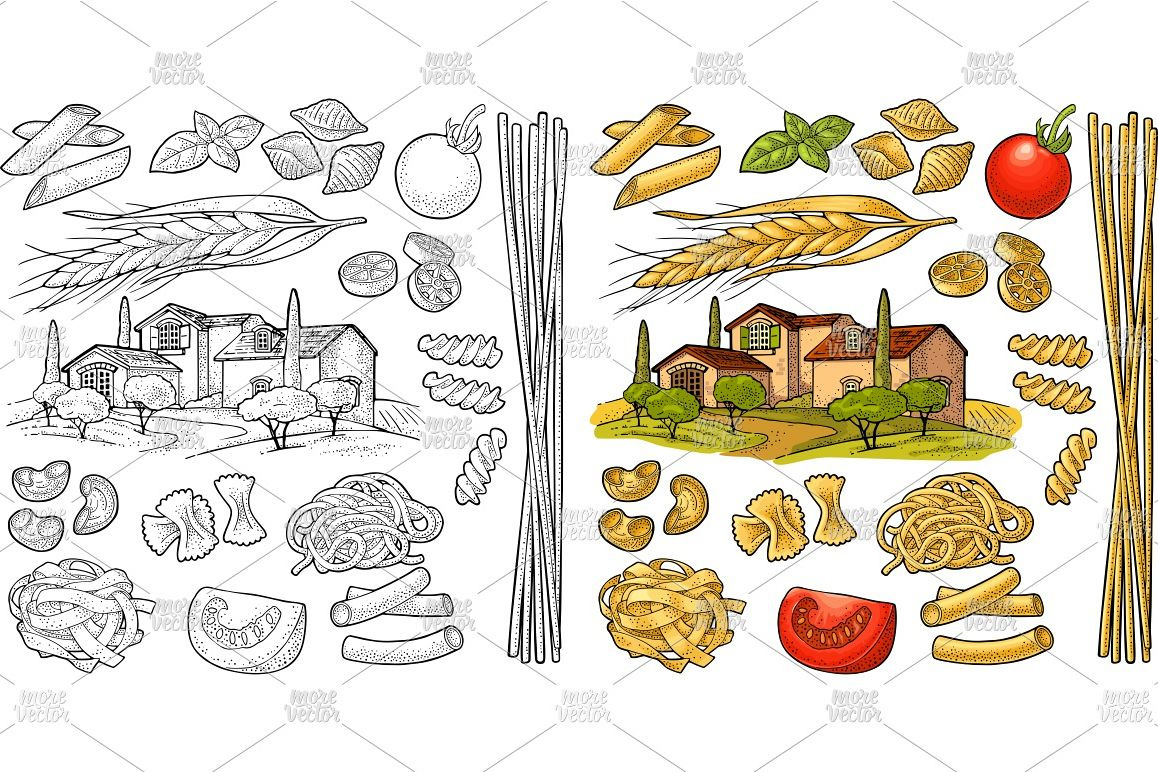 Different types macaroni and farm Vector vintage engraving example image 1