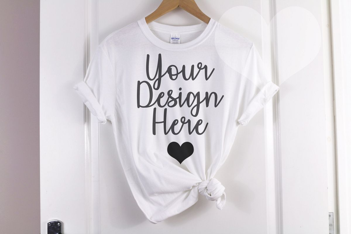 Gildan Mockup 64000 Softstyle White Knotted T shirt example image 1