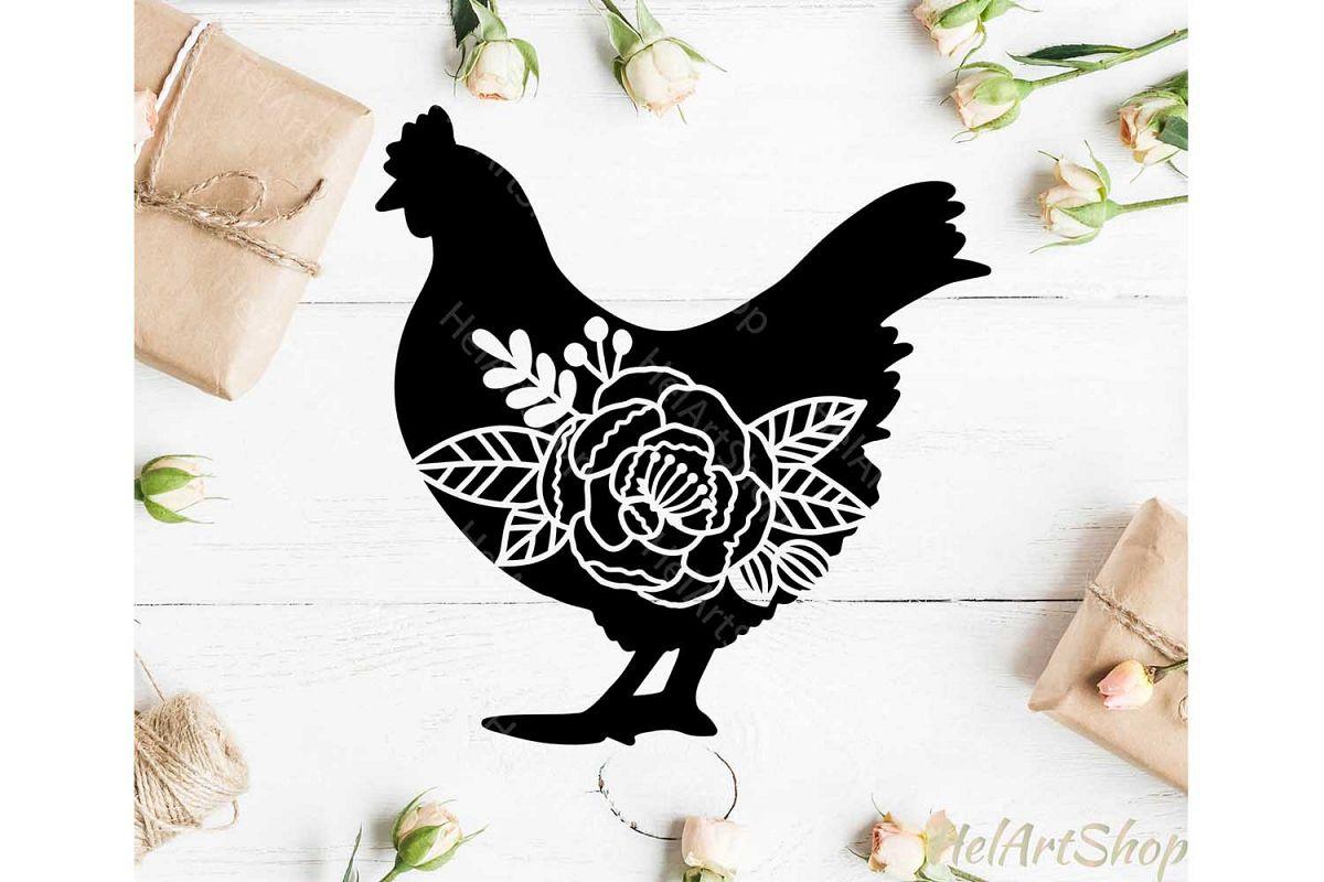 Floral Chicken svg, Farm svg, Farm animals svg example image 1
