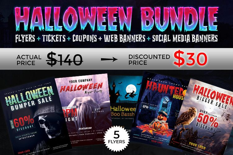 Halloween Big Bundle - flyers, banners, social media etc. example image 1