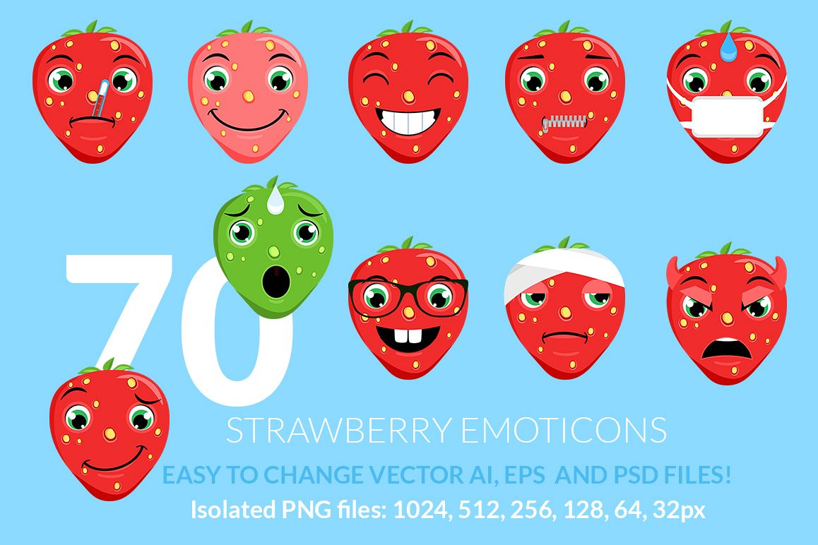 Strawberry Emoticons example image 1