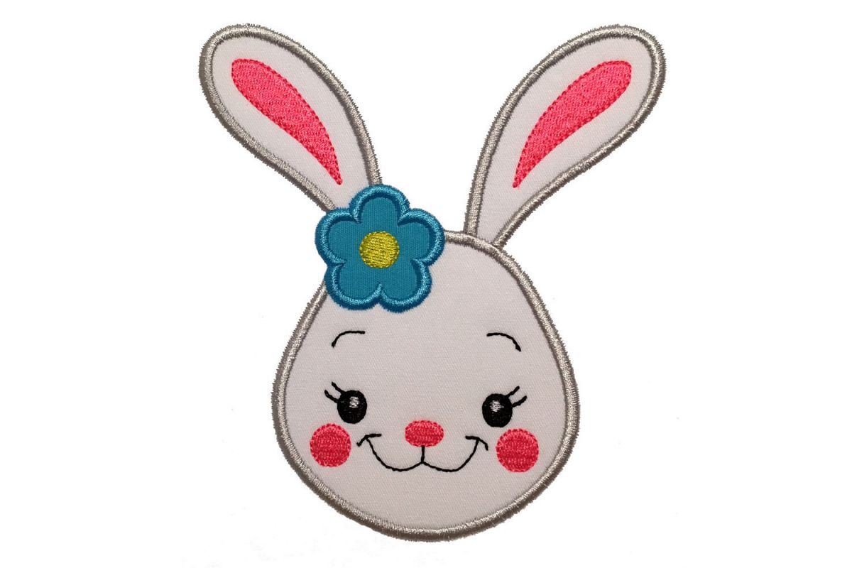 Easter bunny girl with flower machine embroidery applique design