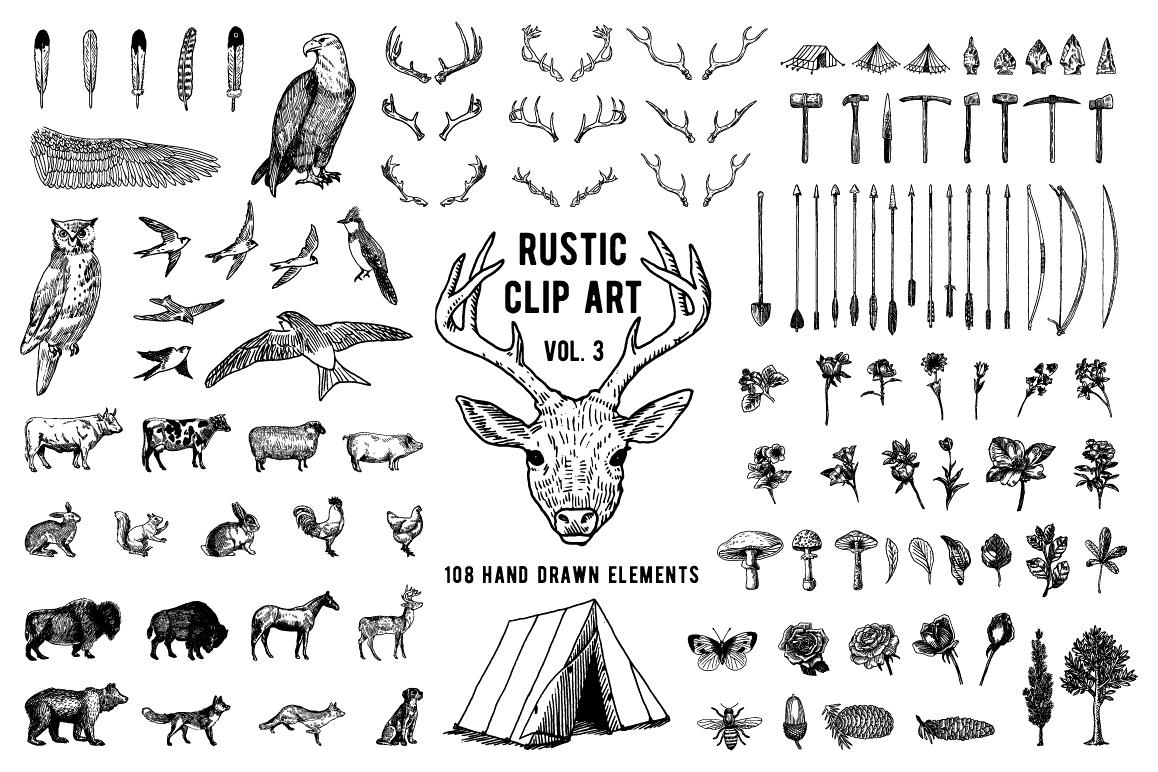 Rustic Clipart Volume 3