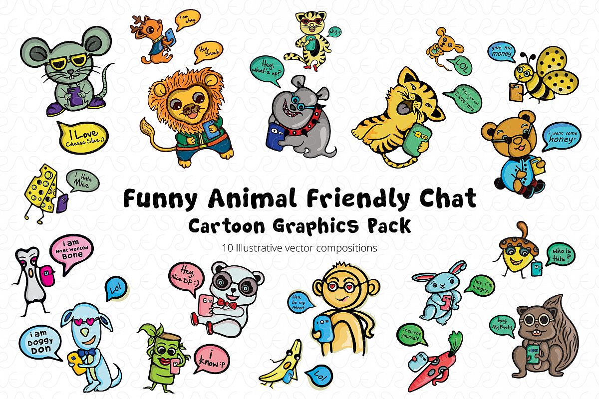 Friends Fun Chat Cartoon Animal Graphic Pack example image 1