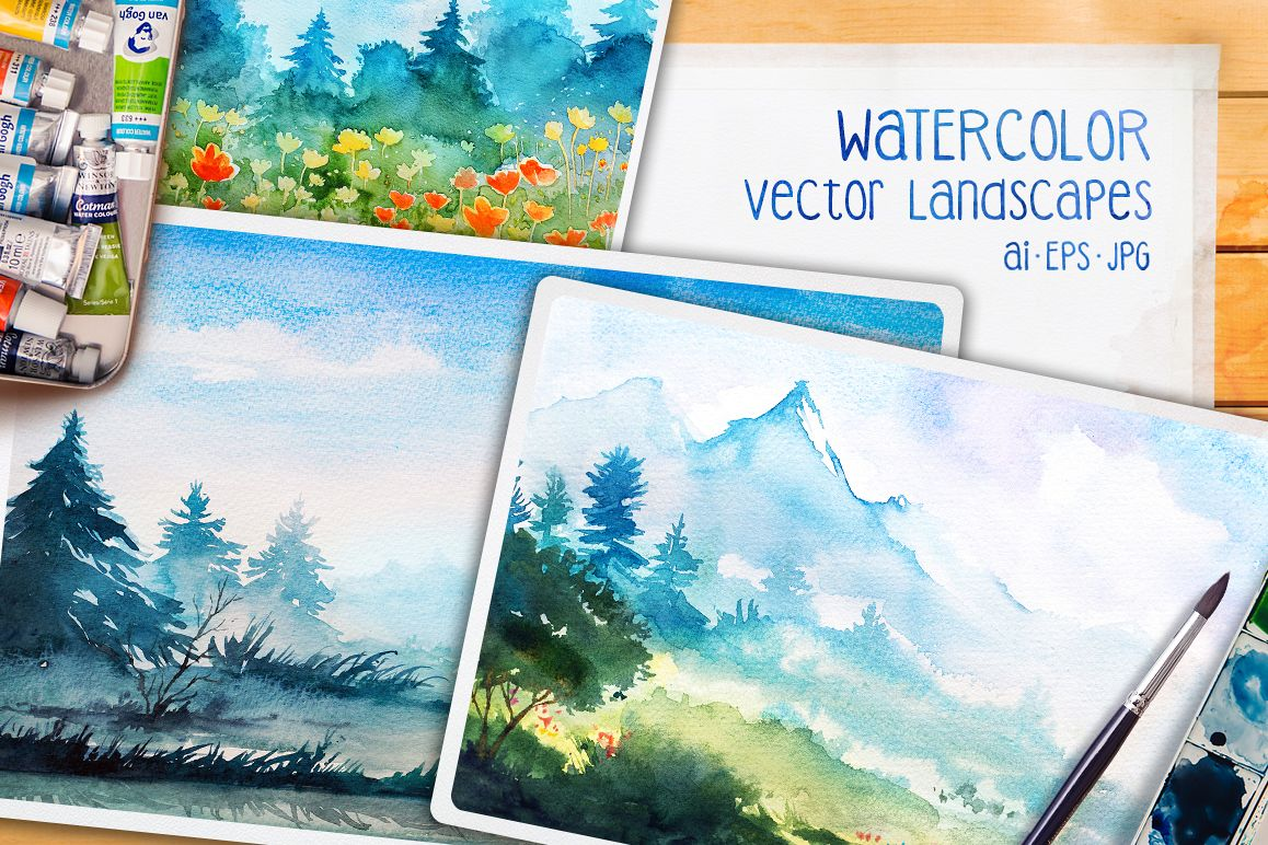 Watercolor Vector Landscapes set#2 example image 1