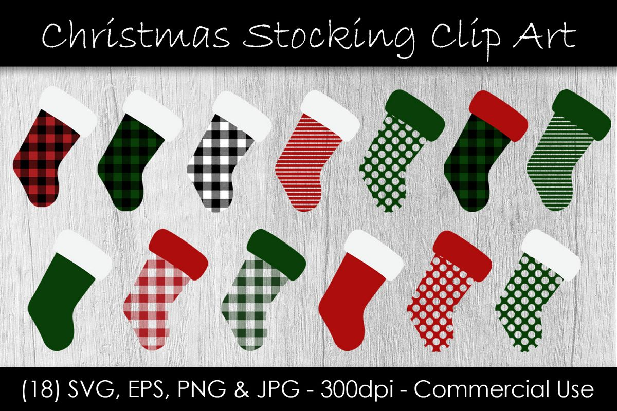 Christmas Stocking Buffalo Check Clip Art example image 1