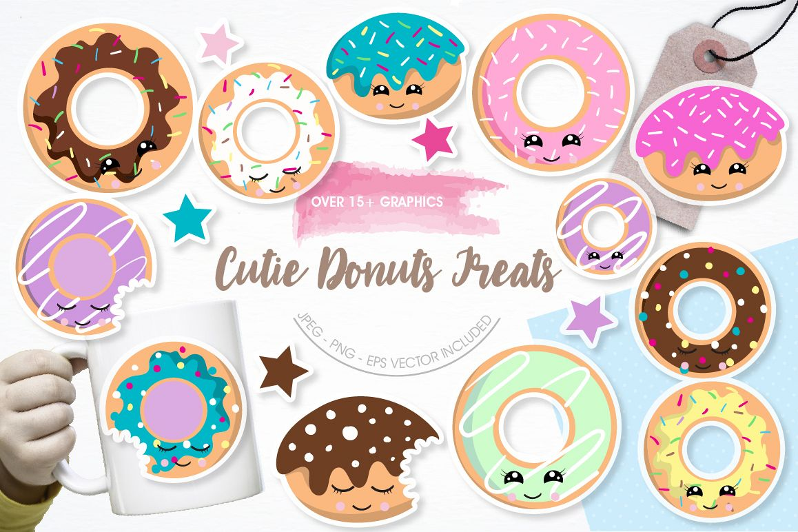Cutie Donuts graphics and illustrations example image 1