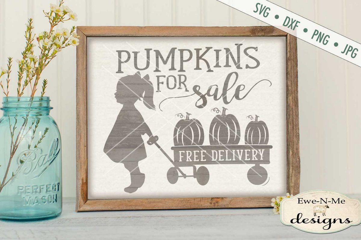 Pumpkins for Sale Girl Wagon SVG DXF Files