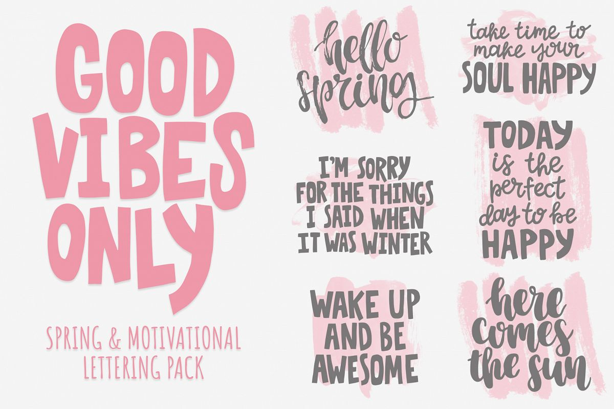 Good vibes only lettering pack example image 1