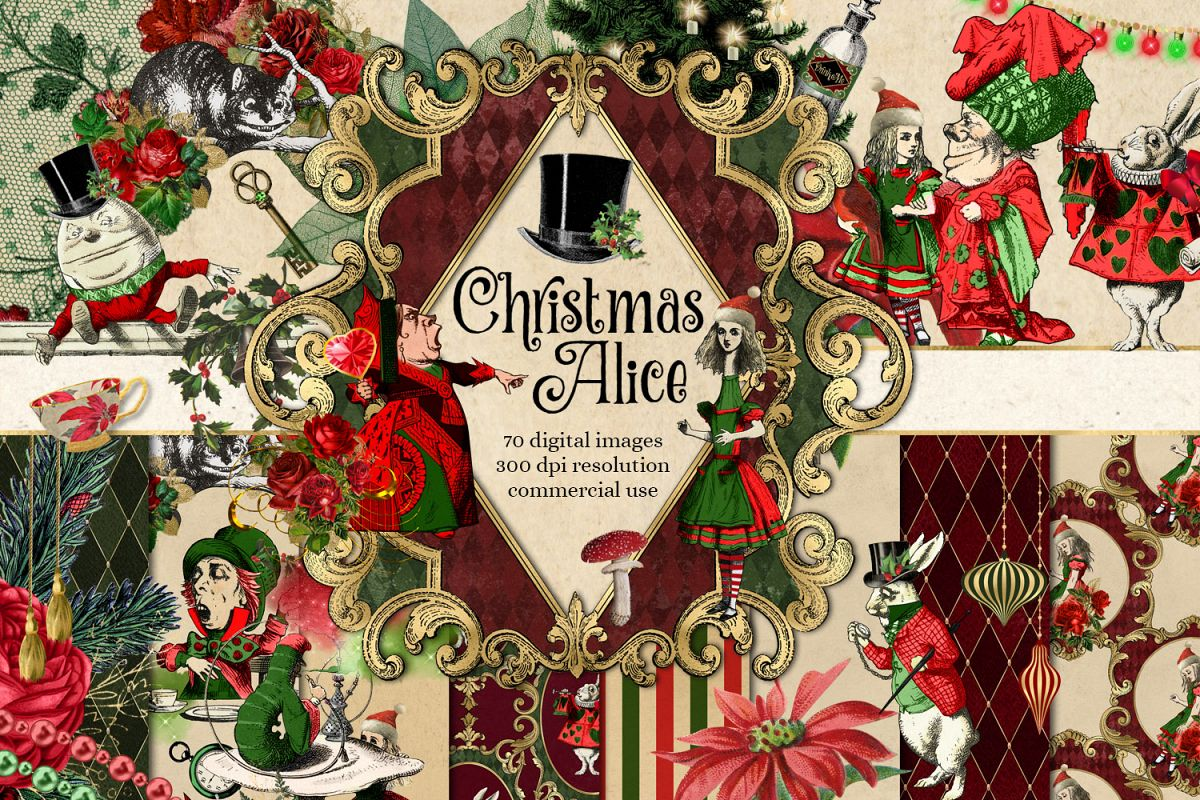 Christmas Alice In Wonderland Clipart example image 1