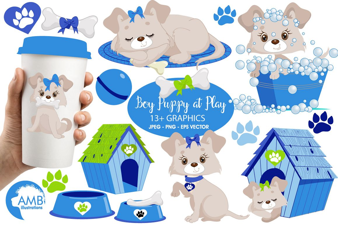Boy Puppy Dog clipart, graphics, illustrations AMB-1930 example image 1