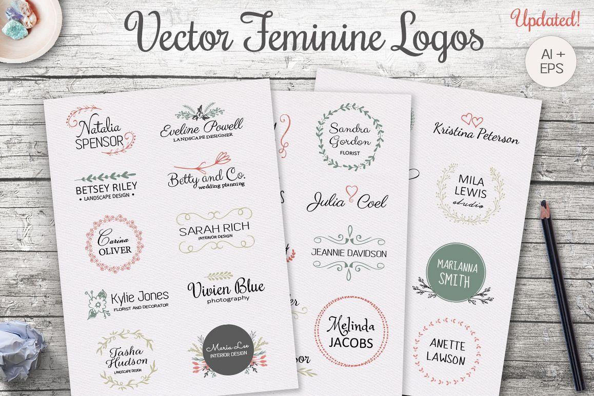 Vector feminine logo templates example image 1