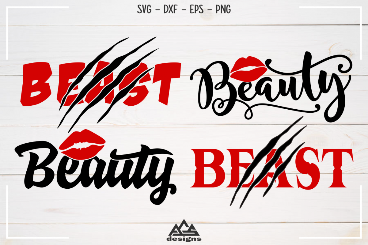 Beauty Beast Couple Valentine Svg Design example image 1