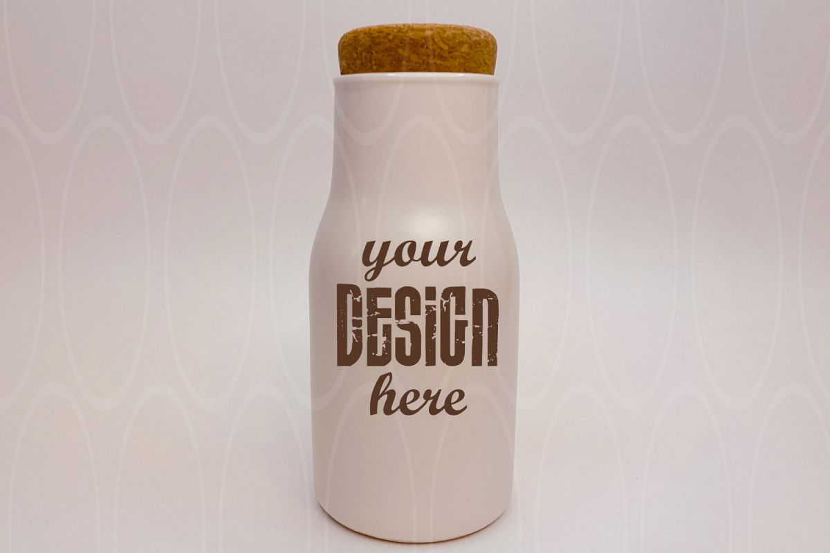 Blank White Bottle with cork mockup Kitchen Dishes mock up example image 1