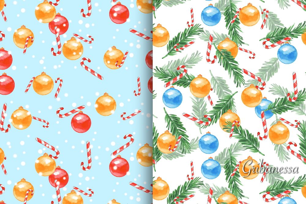 Christmas patterns set 2. Watercolor example image 1