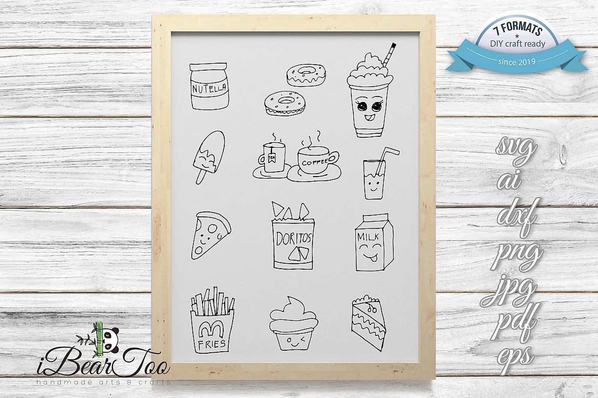Food SVG Bundle Clipart Doodle Drawing Vector Cut Files example image 1