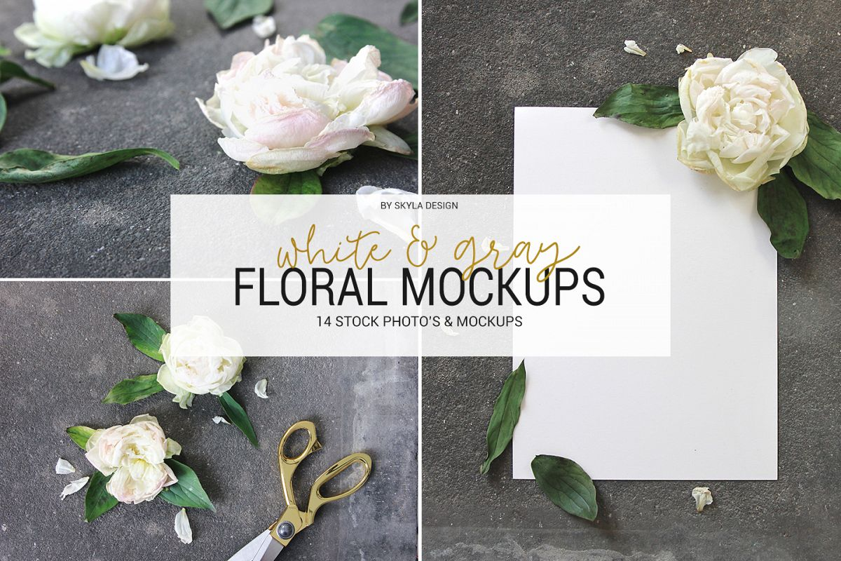 White & gray floral mockup, flower stock images example image 1
