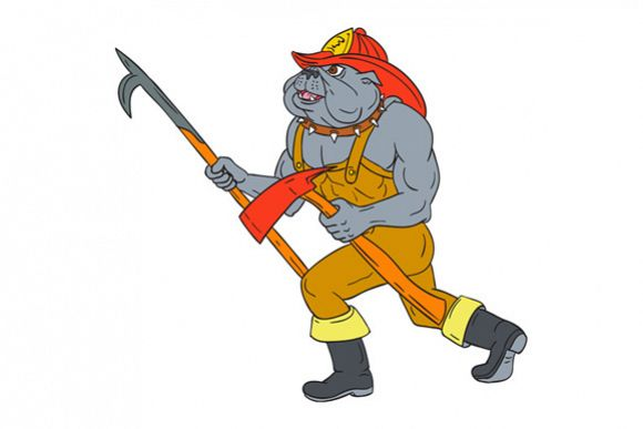 Bulldog Firefighter Pike Pole Fire Axe Drawing example image 1