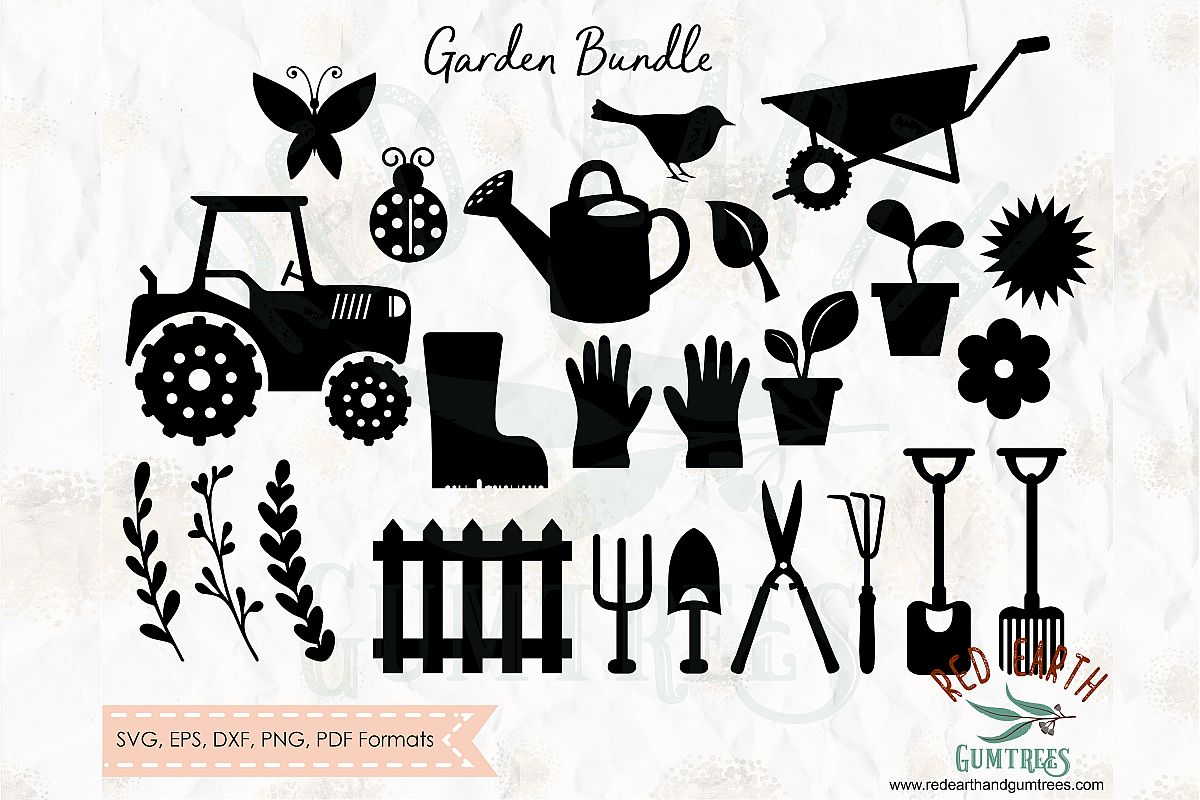 Gardening tools and plants bundle in SVG,DXF,PNG,EPS, PDF example image 1