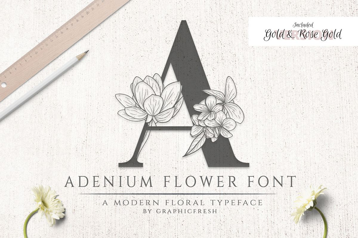 Adenium Font Gold & Rose Gold Foil example image 1