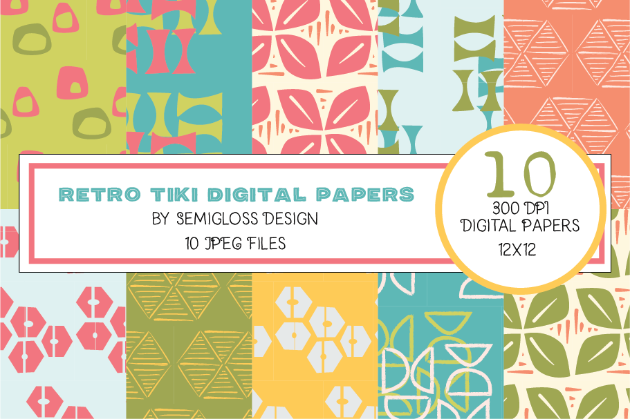 Luau Tiki Digital Paper and Patterns for Summer example image 1