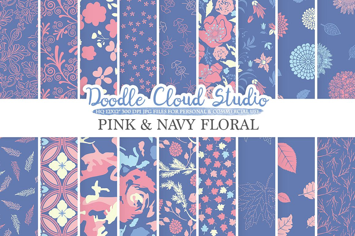 Pink and Navy Floral digital paper Floral pattern Flowers Dhalia Leaves Damask Calico Purple Blue Cream background Personal & Commercial Use example image 1